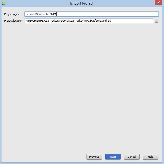Имя в Android Студия PhoneGap Импорт проекта